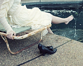 "Fine Art Photography - Portrait Photography - Swimming Pool - Woman at Pool - Vintage Lace Dress ""Poolside"""