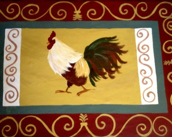 """FLOORCLOTH  French Country  painted canvas rug  ROOSTER  30""""x36"""""""