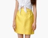 Yellow Silk Polka Dot Skirt