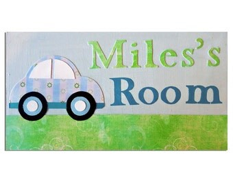 Car Personalized Door Sign / Personalised Name Plaque / Boys Nursery Decor / New Baby Gift