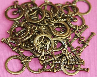 50 sets of Antiqued brass fancy toggle clasps 18x15mm
