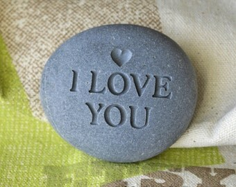 I love you - Fast Shipping - engraved beach stone by sjEngraving