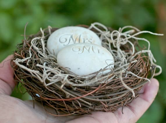 Mr. & Mrs. Bird Nest Cake Topper - Merry Pebble (TM) Collection by sjEngraving
