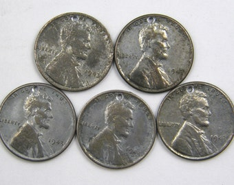 5 Steel Penny Charms 1943