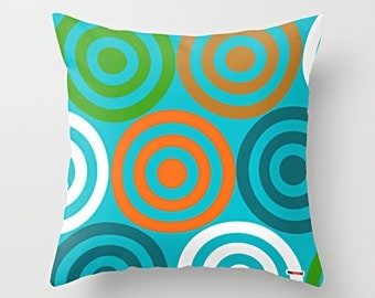 Happy Decorative throw pillow cover - Blue pillow cover - Modern pillow cover