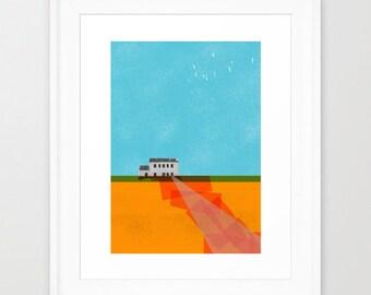 Art Print A3  - Collage print - Colorful print - Art print - The House