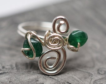 Sterling silver and emerald spiral wirework ring