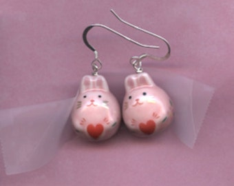 Pink Fluffy Bunny Sterling Silver Earrings