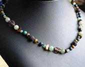 Necklace  Serpentine, copper, tiger-eye lava rock and copper
