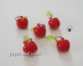 Red Apple Charm Stitch Markers - Handmade - fits up to size US 8 or 5 mm knit needles