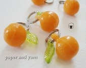 Orange Fruit Charm Stitch Markers - Handmade - fits up to size US 8 or 5 mm knit needles