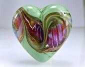 Green Pink Lampwork Heart Focal Bead SRA BEADS