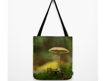 Table For Two In The Forest Bag Tiny Table & Chairs Under A Mushroom Green Moss Natural History  Photograph Mushroom