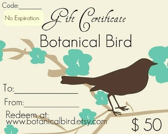 Jewelry gift certificate, Fifty dollars - Botanical Bird, gift for her