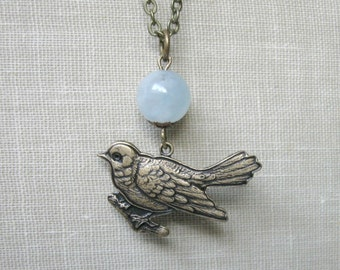 Brass bird necklace, vintage style, womens gift, bird jewelry, blue jade bead, woodland, nature inspired, womens jewelry