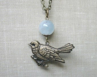 Vintage style bird necklace, pendant, blue jade bead, bird charm, woodland, nature inspired, womens jewelry