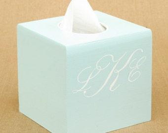 script monogram tissue box