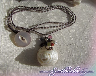 Pearly Cone Seashell Crystal Cluster of Coral Garnet Quartz and Czech Glass