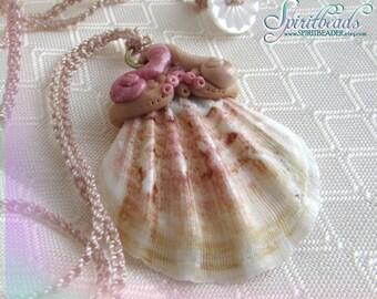 Seashell Princess Pink Rhinestone Mermaid Necklace