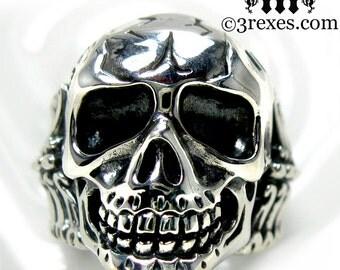 Mens Skull Ring Silver Biker Band Bones Size 13
