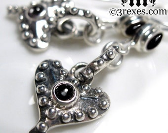 Silver Heart Earrings Punk Rock Gothic Black Onyx Stones