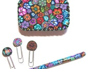 Pretty and useful Tin trinket box with pen and clips or bookmarks Millefiori polymer clay design T29