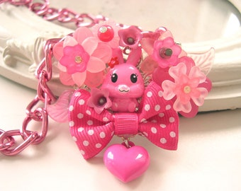 Kawaii Bunny Necklace with Bow in Hot Pink Lolita fairy kei