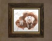 Halloween art - Sheep Painting Original Watercolor - Animal art Painting of a lamb Farm animals Home decor linen almond brown - 10 x 10