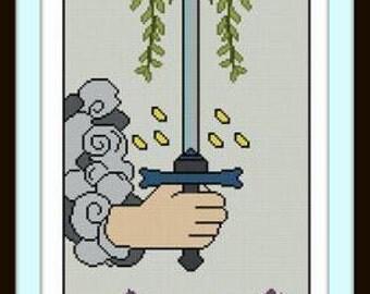 Ace of Swords Tarot card cross stitch pattern pdf