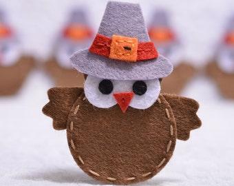 Set of 6pcs handmade felt owls--chocolate (FT968)