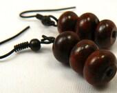 Semi Precious Bracciated Jasper Stone Earrings, Gemstone Earrings, Dainty Dark Maroon Stone Dangles, Minimalist Earrings (E80)