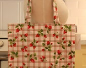 Book Bag Tote Purse - Strawberries on White