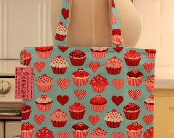 Book Bag Tote Purse - Cupcakes on Turquoise