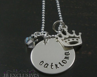 hand stamped personalized mommy necklace - sterling silver chain -  name disc and birthstone and princess crown charm