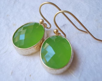 Little peridot drop earrings, glass earrings, faceted fancy dangle earrings, gold plated jewelry, earrings for women, green lime apple