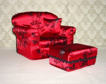 Doll Chair -  Ottoman - Brocade, Red,  Black -  fits  - 11 1/2 inch dolls