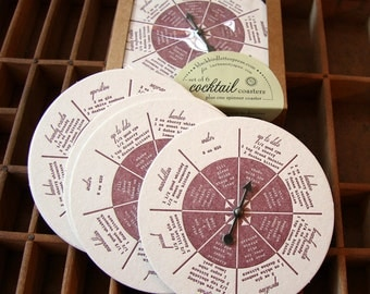 letterpress cocktail recipe coaster set spinner game
