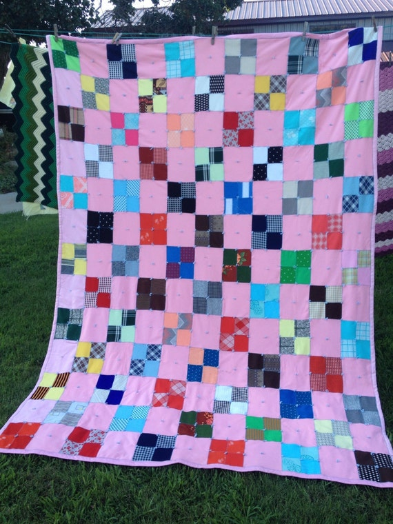 Vintage Double Knit Hand Tied 4 Patch Quilt (Backing Is a Sheet)