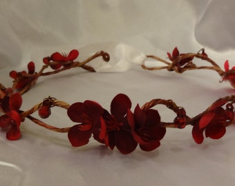 Bridal Hair Wedding Hair Flower Crown Red Woodland Crown Hair Wreath