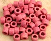 Greek Ceramic Tube Beads, Black Raspberry Creme, 6x4 mm, 50 Pieces M197