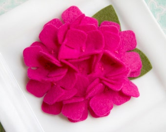 Wool Felt Flower Hydrangea in Fuchsia Set of Two