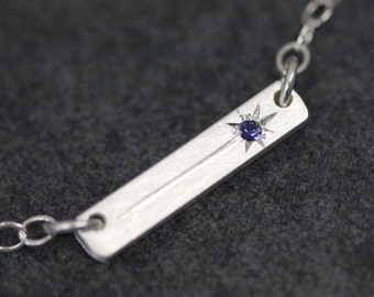 Sapphire Shooting Star Bar Necklace in Sterling Silver