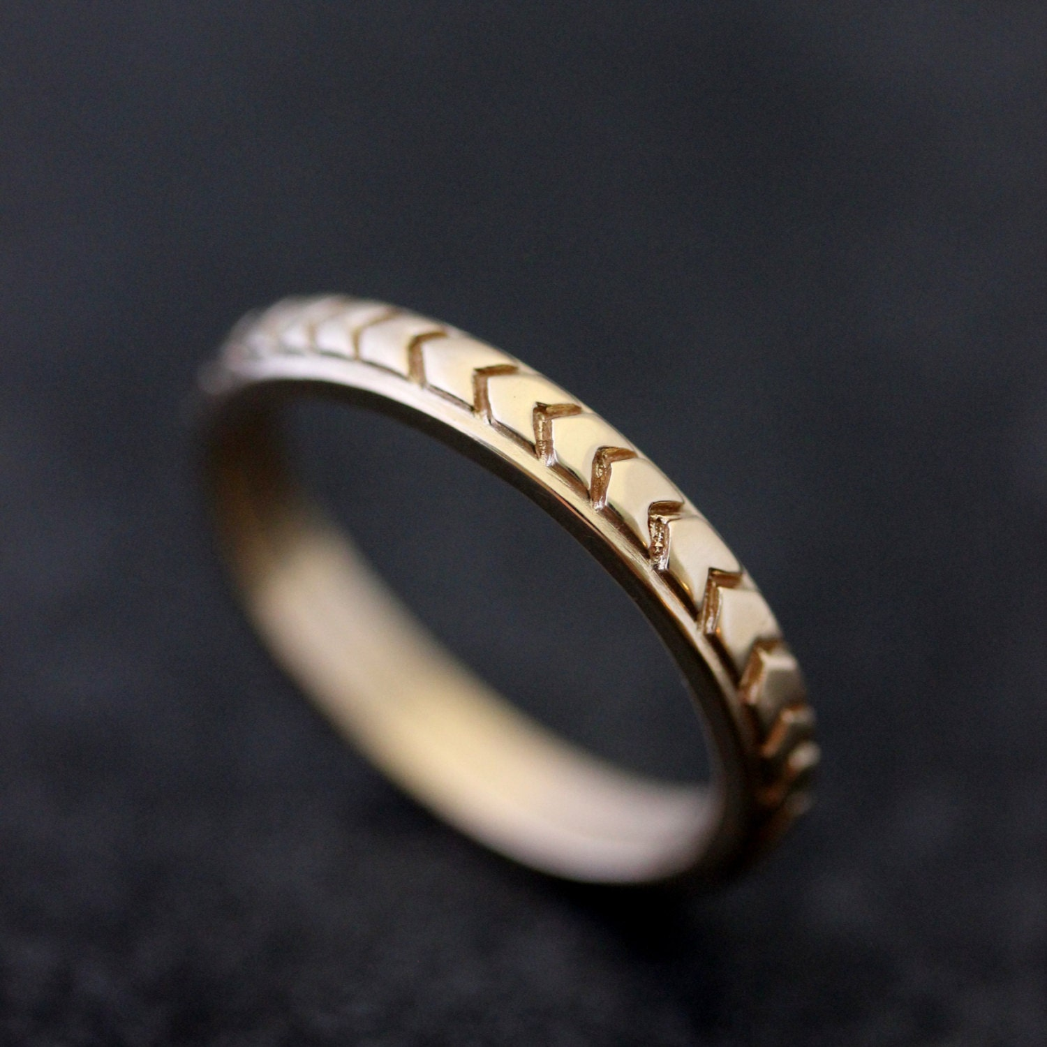 Chevron Wedding Band in 14k Yellow Gold or 14k Rose Gold