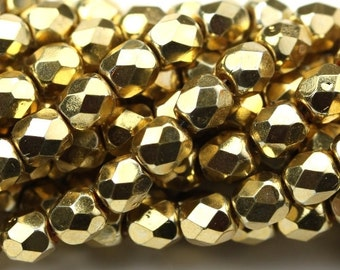 Czech Glass Beads Fire Polished 4mm Aurum (50) CZF514