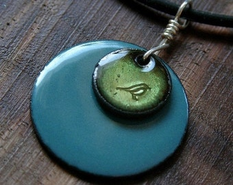 Bird Necklace, Bird Jewelry, Olive Green, Delft Blue Pendant, Copper Enamel Necklace, Hand Stamped Stacked Circle Jewelry