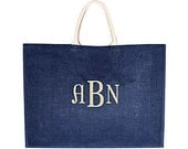Navy Blue Monogrammed / Personalized Large Jute Tote Bag w/ Canvas Handle