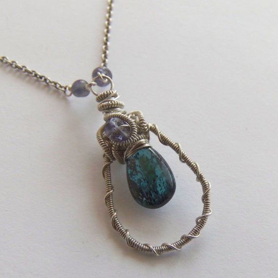 CLEARANCE -- Wire Wrapped Pendant Necklace with Kyanite and Iolite