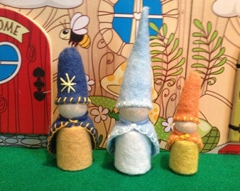 Meet The Celestial Waldorf Gnomes Starry Night, Sky and Little Sunshine Peg People