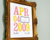 Birth Date Print modern nursery art poster custom - 8x10