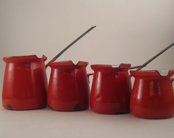 Vintage Enamel Turkish Coffee Pot / Butter Warmer Retro Orange Red
